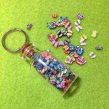 Miniature Kawaii Polymer Clay Butterflies Glass Bottle Keyring Cute, Funky Gift
