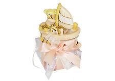 Bomboniera scatola plexiglass con barca orsetto rosa comunione nascita