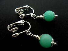 A PAIR OF SHORT BLUE JADE  BEAD  DROP CLIP ON EARRINGS. NEW. 8MM.