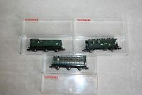 Fleischmann piccolo Wagenset 3tlg DRG Ansbach 8065 8092 8095 3. Klasse Gepäck