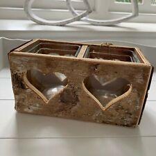 Wooden Double Candle Tealight Holder Heart Rustic Tea Light