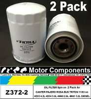OIL FILTER 2 PACK Z372 for Mitsubishi CANTER DELICA PAJERO TRITON STARWAGON