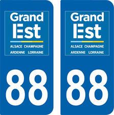 2 Stickers style immatriculation auto Département Grand-EST VOSGES 88