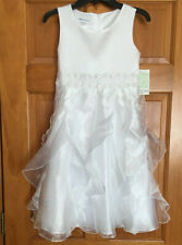 NEW Bonnie Jean Communion Easter Wedding Bridesmaid Dress Size 8 Girls White