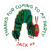48 Personalised Party Bag Stickers THE VERY HUNGRY CATERPILLAR 40mm Cone Labels