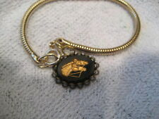 Vintage carved and painted intaglio piece Double Horse Head charm Bracelet a