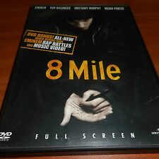 8 Mile (DVD, 2003, Full Frame) Eminem Kim Basinger, Brittany Murphy Used Eight