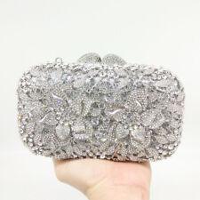 Elegant Women Flower Evening Bags Metal Clutch Minaudiere Floral Wedding Handbag
