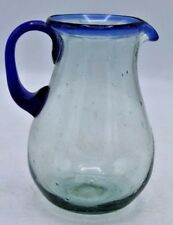 Vintage Hand Blown Glass Pitcher Green Tint w/ Blue Rim - Mexico or Murano 5.5""