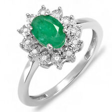 1.00 CT 18K White Gold Diamond With Real Oval Green Emerald Engagement Ring