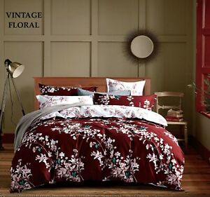 Vintage Floral Duvet Cover Bedding Set Quilt Cover With Pillow Cases Double King