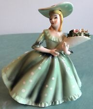 Vintage Lefton Japan Pottery Victorian Lady Bouquet Planter Figurine Arms Away