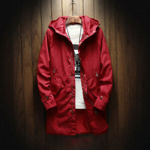 Casual Style Zipper And Button Up Trench Coat - Wine Red