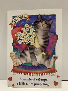 LOT 6 NEW Leanin' Tree GET WELL Cards Cat Flowers GWT12393