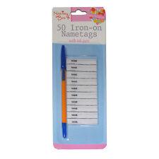 50 fer porte-nom avec encre stylo écrire sur vêtements Labels for School Uniforms