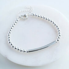 Personalised Silver Heart Clasp Bracelet, Engraved Pendant Bracelet (J1C8+F10)