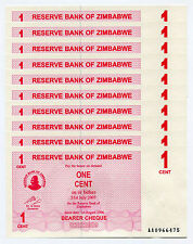 Zimbabwe 1 Cent Bearer Cheque x 10psc AA 2006 P33 consecutive UNC currency bills