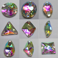 Sew On Glass AB Crystal Rhinestone Clear Flatback Beads Strass Stone For Clothes