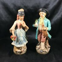 Pair of Vintage BRINNS Porcelain Figurines Courting Colonial Couple