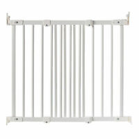 BabyDan FlexiFit Wooden Adjustable 42 Inch Wall Mounted Baby Safety Gate, White