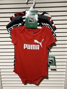New NWT Puma 6-9 Months 5-Pack Bodysuits Red White Grey Black