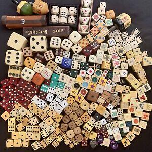HUGE Lot of VINTAGE DICE Poker Bone BAKELITE Doubling Cubes PUT & TAKE SPINNERS