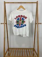 VTG 80s London England Crest Flag Souvenir Big Graphic T-Shirt Size M