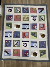 Pottery Barn Kids Boys Sports Themed Patchwork Quilt Bedspread Comforter - Twin