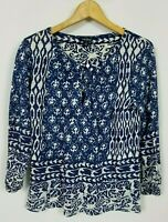 Lucky Brand Women's Small Blue White Batik Boho Design 3/4 Sleeve Knit Top