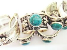 Old Tibet Silver Green turquoise stone Ring Adjustable Religion one pieces