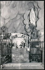 ST MARTINVILLE LA St Martin Church Lourdes Grotto at Xmas Vintage RPPC Postcard