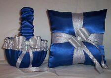 HORIZON BLUE SATIN /  SILVER TRIM FLOWER GIRL BASKET & RING BEARER PILLOW #2