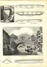 Grabados Antiguos El Puente Rialto en Venecia sobre Don Aberdeen viejo puente fochaber