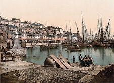 Vintage Edwardian Seaside Photochrome Photo Reprint Brixham 1 A4