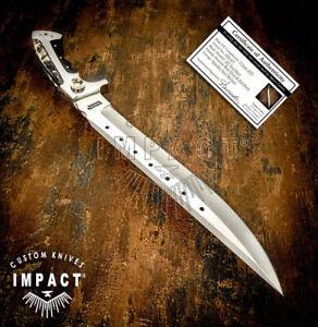 IMPACT CUTLERY RARE CUSTOM D2 FULL TANG BUSHCRAFT FIGHTER BOWIE KNIFE RAM HORN