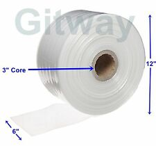 """6"""" x 2150' Clear Poly Tubing Tube Plastic Bag Polybags Custom Bags on a Roll 2ML"""