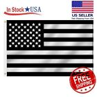 USA Black and White American Flag 3x5 Foot Heavy Duty Flags, Embroidered Stars
