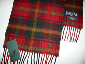 Lyle & Scott scarf red green checked mens ladies womans lambswool wool NEW