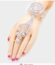 Silver Clear Crystal Rhinestone Wedding Formal Slave Hand Chain Ring Bracelet