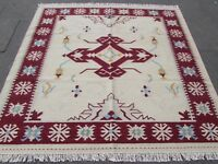 Old Traditional Hand Made Oriental Indian Cream Wool Square Kilim 203x202cm