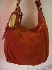 TIGNANELLO Roomy! ORANGE RED Suede Leather HoBo Shoulder SLOUCH Satchel Bag BoHo