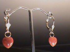 14kt Gold Lever Back Earrings 14 kt Big Eye w Red Jade Heart Drops