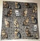 "ZooFleece Cat 50X60"" Blanket Gray Throw Kitty Kittens Feline Winter Cats Gift"