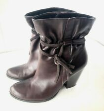 """Nine & Co Brown Leather Ankle Boots Size 8.5 Medium 3.5"""" Block High Heel"""