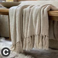 Luxury Cotton Basket Weave Blanket Throw Cream Beige Oatmeal Fringed Bed Sofa