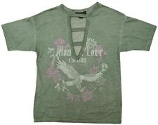 Womens T-Shirt Distressed Cotton Rock Chick Eagle Rose Top Plus Sizes UK 4 to 20