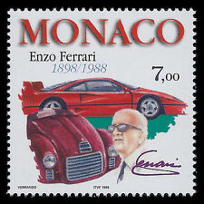 Monaco 1998 - 100th Anniv of the Birth of Enzio Ferrari Cars - Sc 2091 MNH
