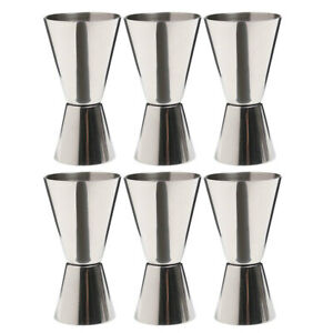 6x Barcraft Stainless Steel Double 25/50ml Cocktail/Martini Jigger Spirit Pourer