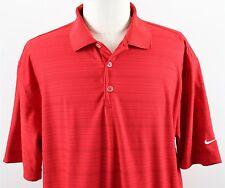 NEW Nike Golf Dri-Fit Tech Core Stripe Polo Shirt MENS XL Red Polyester