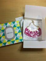 STELLA & DOT Gold EDEN Necklace w Hot Pink Fringe, Includes Original Box
